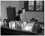 Marian Herstrom, secretary to President R. Franklin Thompson, Jones Hall, 1950