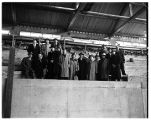 Officials get an early peek at the still unfinished Memorial Fieldhouse, 1949