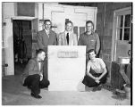 Sprenger, Stivers, Howe, Robinson, and Ellikson with new Deep Creek sign, 1949