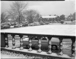 Snowfall on campus, 1954