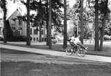 Bicyclists on campus, 1982