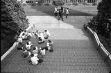 Students outdoors on campus, 1987